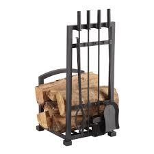 fa338lt harper log holder with 4 piece fireplace toolset
