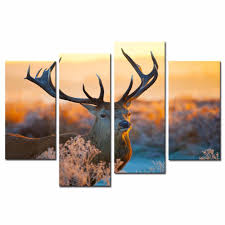 com amosi art 4 panels elk canvas paintings deer wall art painting on canvas deer in forest in sunset animal painting for living room decoration