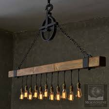 the dunsmuir wood beam chandelier with vintage style edison bulbs