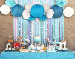 blue white wedding theme background wall party decor cut out paper