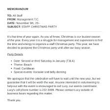 Examples Of Memos To Staff Holiday Memo Template Sample For Party Staff The Examples