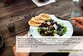 расчет ресторан Финансовый расчет ресторан