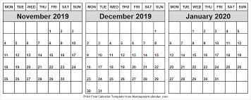 Blank Dec 2020 Calendar Nov Dec 2019 Jan 2020 Calendar Blank 3 Month Calendar