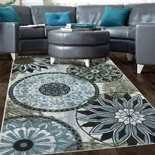 5x7 blue rug new medallion nylon area rug gray blue navy brown living room bedroom in