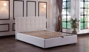 manila platform queen bed in escudo white by istikbal furniture