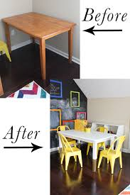 turn an old dining table into a cute kid s art table