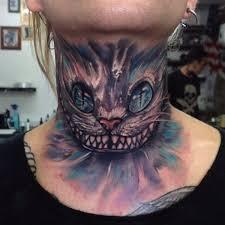 Cheshire Cat Neck Tattoo By Anrijs Straume Cheshirecat