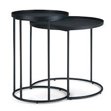 monet modern industrial round 24 in wide metal 2 piece nesting table in black