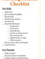 Morning Routine Checklist Familyeducation