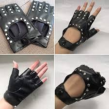 <b>Women</b> PU <b>Leather</b> Half Finger <b>Gloves</b> Punk <b>Rivets</b> Biker Cutout ...