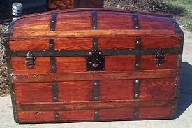 all wood dome top antique trunk 358