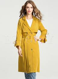 stylish belted flare sleeve trench coat