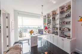 Home office white Beautiful La Home Office In White With Raised Panel Doors Closet Factory Custom Home Offices Office Builtin Design Closet Factory