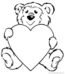 Small Picture Teddy Bear with a heart color page Appliqu ideas Pinterest
