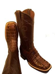 hornback alligator tail cut with inlay top leather lined and leather sole height 13 new texas square toe and 1 ¾ walking heel