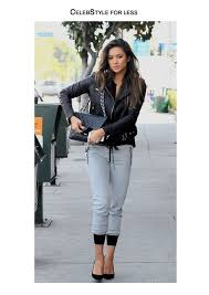 jacket celebstyle for less shay mitchell leather jacket perfecto top grey sweatpants quilted bag black heels grey wheretoget