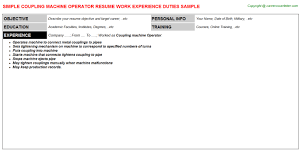 Coupling Machine Operator Resume Resumes Templates
