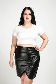 women s y plus size faux leather skirt black knee length cocktail party pencil skirt spring autumn pu skirt wrap skirt 6xl