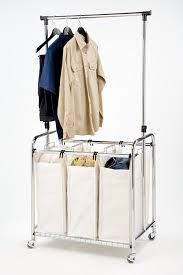 Laundry Hanging Bar Amazoncom Seville Classics Mobile 3 Bag Heavy Duty Laundry
