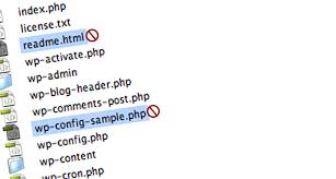 Delete Unnecessary WordPress Files: readme.html, wp-config-sample.php