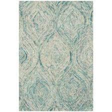 ikat ivory sea blue 2 ft x 3 ft area rug