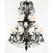 versailes 24 light black chandelier with white shades