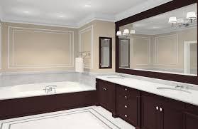 apartment bathrooms. Bathroom. Brown Bathtub And Dark Wooden Bathroom Vanity Connected By Large Apartment Bathrooms