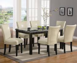 upscale dining room furniture. Dining Room Ideas Fine Looking 7 Pieces Set With Creamy Upholstered Chairs Black Wooden Base As Well Rectangular Marble Top Upscale Furniture N