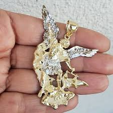 big large solid 14k gold saint michael