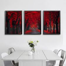Modern Painting For Living Room 2017 Peace Large Modern 3 Panels Red Forest Landscape Giclee