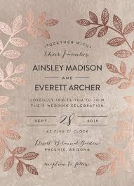 Folk Inspired Wedding Invitation Design With Real Rose Gold Foil