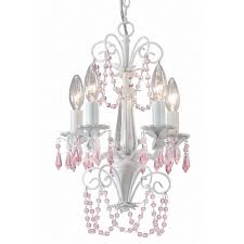 canarm danica 5 light white chandelier with pink crystals