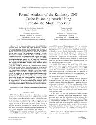 Pdf Formal Analysis Of The Kaminsky Dns Cache Poisoning