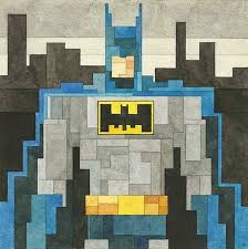 watercolor paintings of superheroes done in the 8 bit graphics of old video games the paintings are created using rectangles and squares of