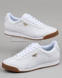 puma puma roma classic gum trainer white gold leather