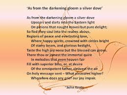 a discussion of john keats sonnet entitled as from the darkening a discussion of john keats sonnet entitled as from the darkening gloom a silver dove