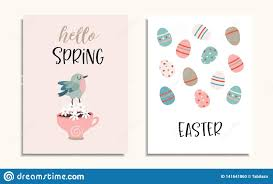 Set Of Easter Greeting Cards Invitations With Bird Cup Of