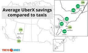 Uber Fare Chart Uber Vs Taxi Mapping Price Differences In Canada