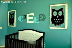 Blueish Green Wall Color Cute Baby Boy Nursery Themes Decorated With  Sleepin Owl Large Stickers Sign