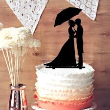 2019 Wedding Cake Topper Silhouette Sweet Kissing Groom And Bride