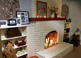 white brick fireplace mantel kits