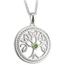 details about silver stone set celtic tree of life pendant necklace celtic jewellery boxed