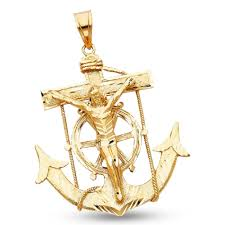 mariner crucifix charm solid 14k yellow gold anchor pendant large mens