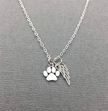 sterling silver pet loss gift cat memorial necklace dog paw print jewelry loss