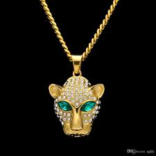 whole fashion long necklace for men gold plated hip hop cuban link chain stainless steel emerald cz leopard head pendant necklaces men jewelry gold