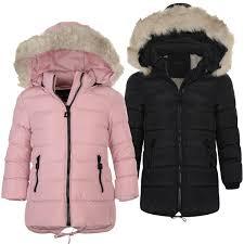 girls long down quilted winter jacket kids detach hood zip parka coat
