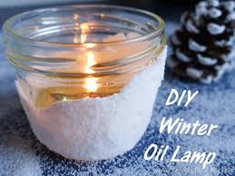 snow covered mason jar oil lamp tutorial