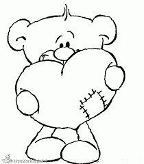 Cute Bear With A Huge Heart Coloring Page