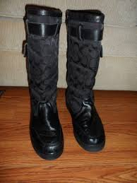 details about coach women s black quilted fabric and leather boots see measurement for size