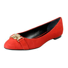 versace women s true red suede leather medusa ballet flats shoes 0